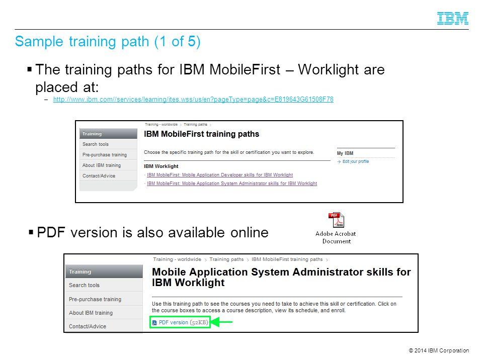 Sample training path (1 of 5)
