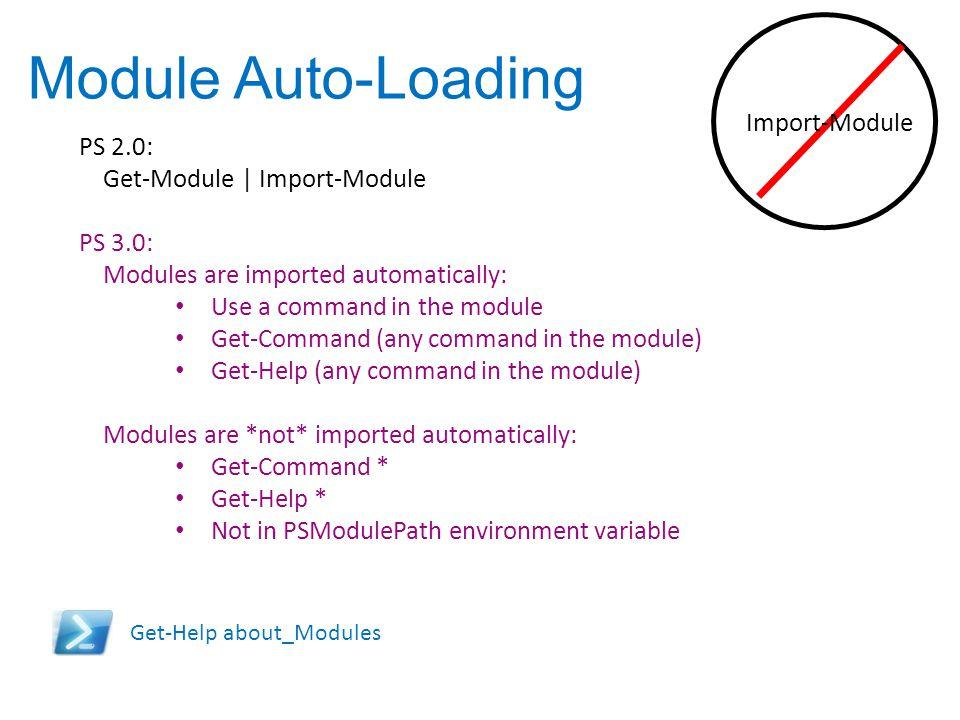 Module Auto-Loading Import-Module PS 2.0: Get-Module | Import-Module