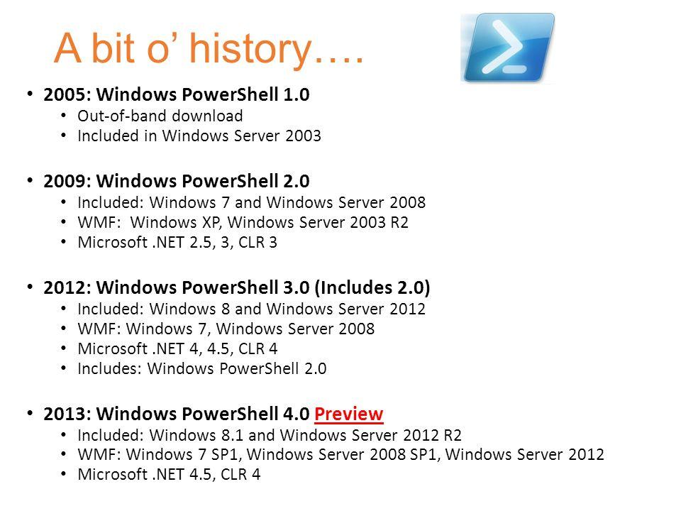 A bit o' history…. 2005: Windows PowerShell 1.0