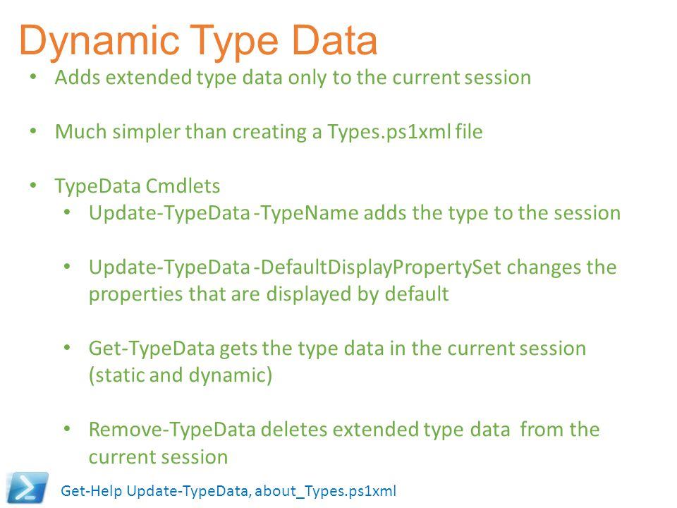 Dynamic Type Data Adds extended type data only to the current session