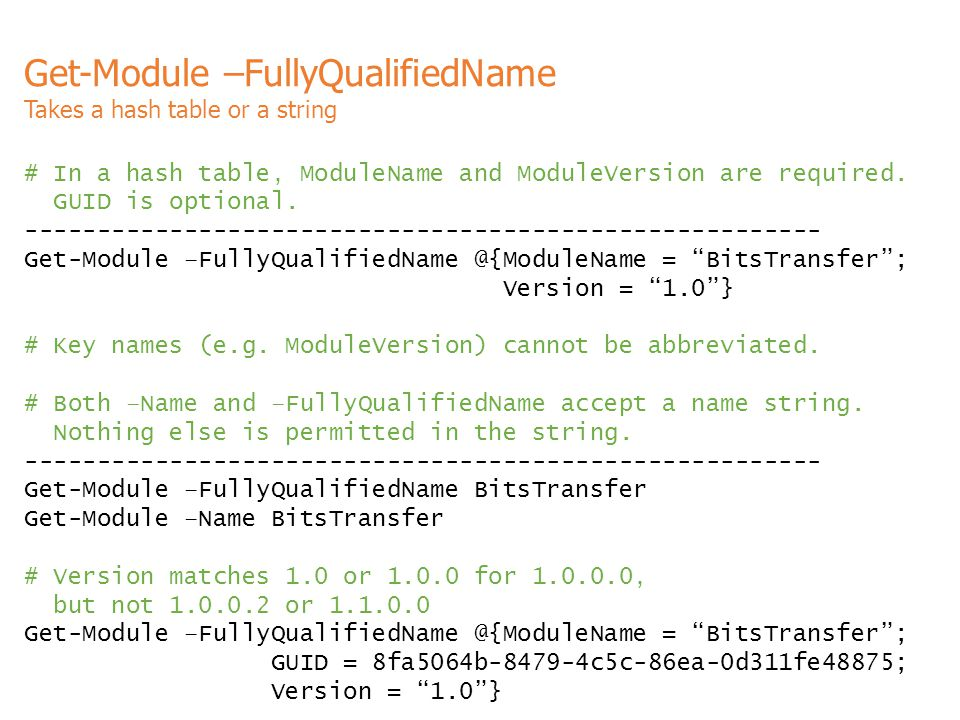 Get-Module –FullyQualifiedName