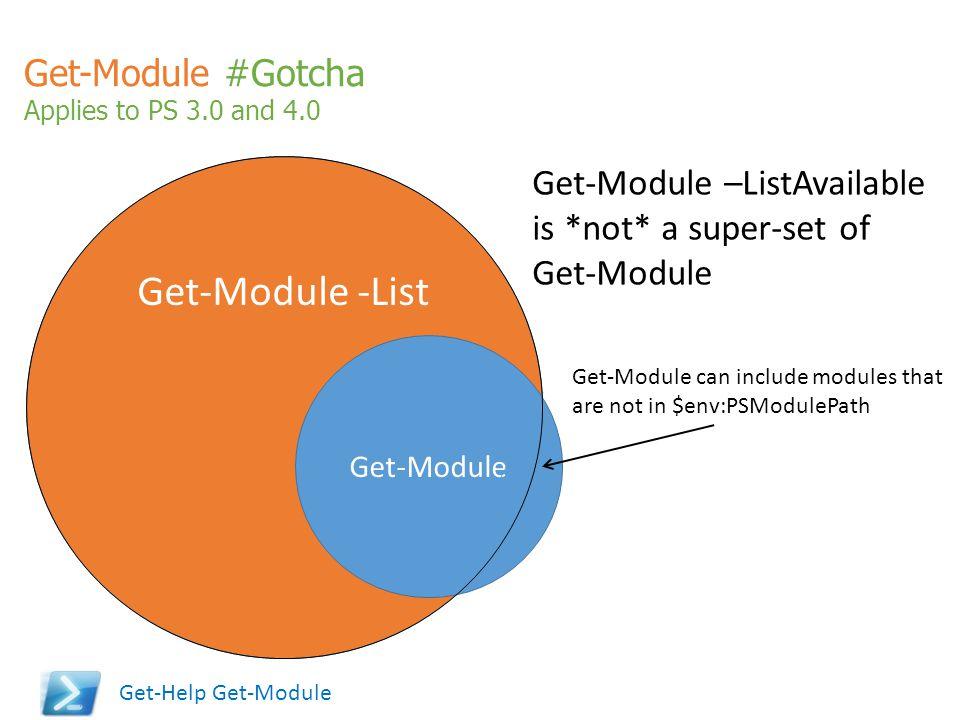 Get-Module -List Get-Module #Gotcha Get-Module –ListAvailable