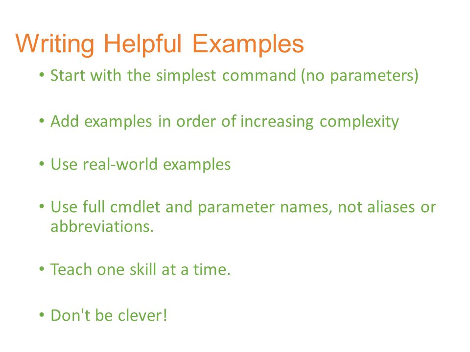 Writing Helpful Examples