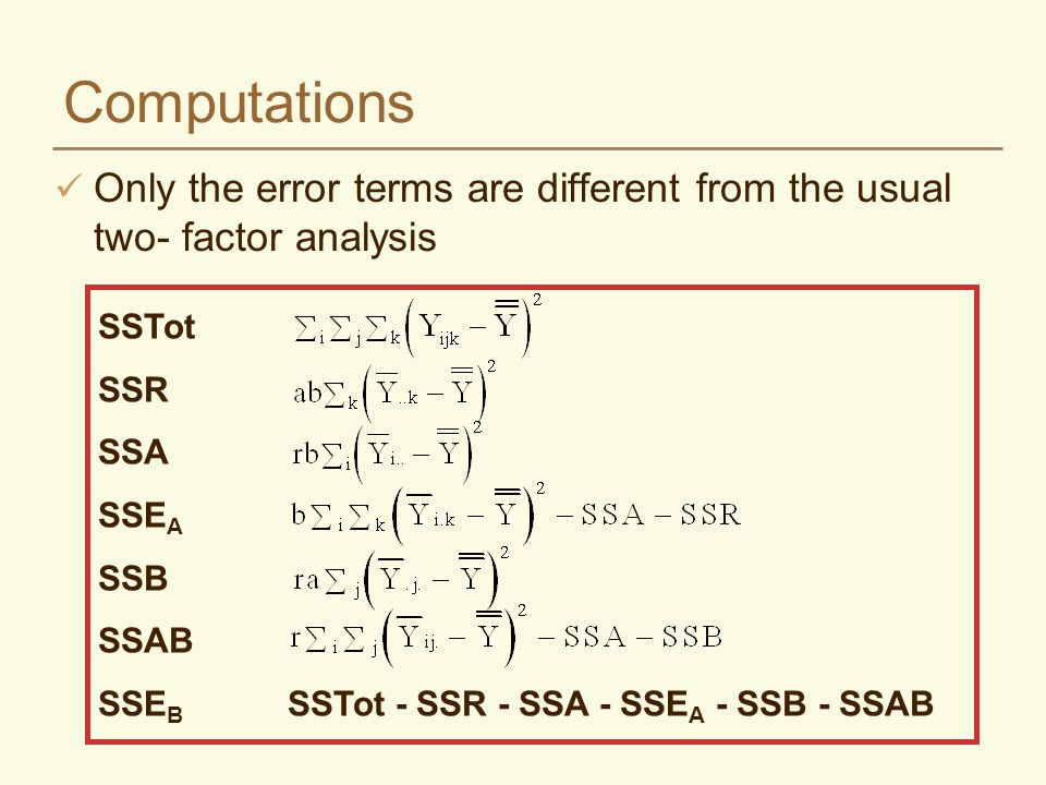 Computations Only the error terms are different from the usual two- factor analysis. SSTot. SSR. SSA.