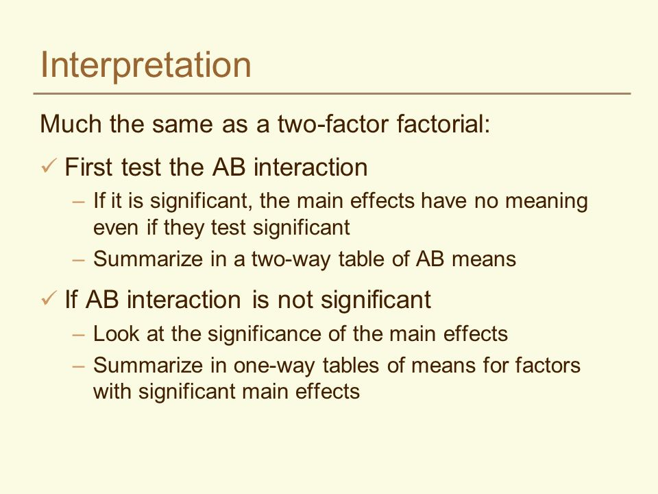 Interpretation Much the same as a two-factor factorial: