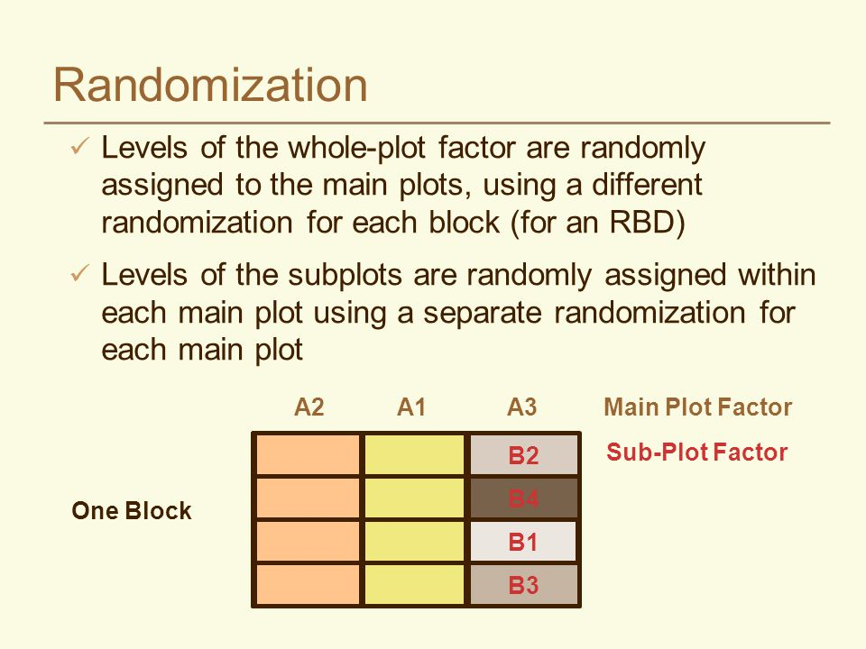 Randomization Levels of the whole-plot factor are randomly assigned to the main plots, using a different randomization for each block (for an RBD)