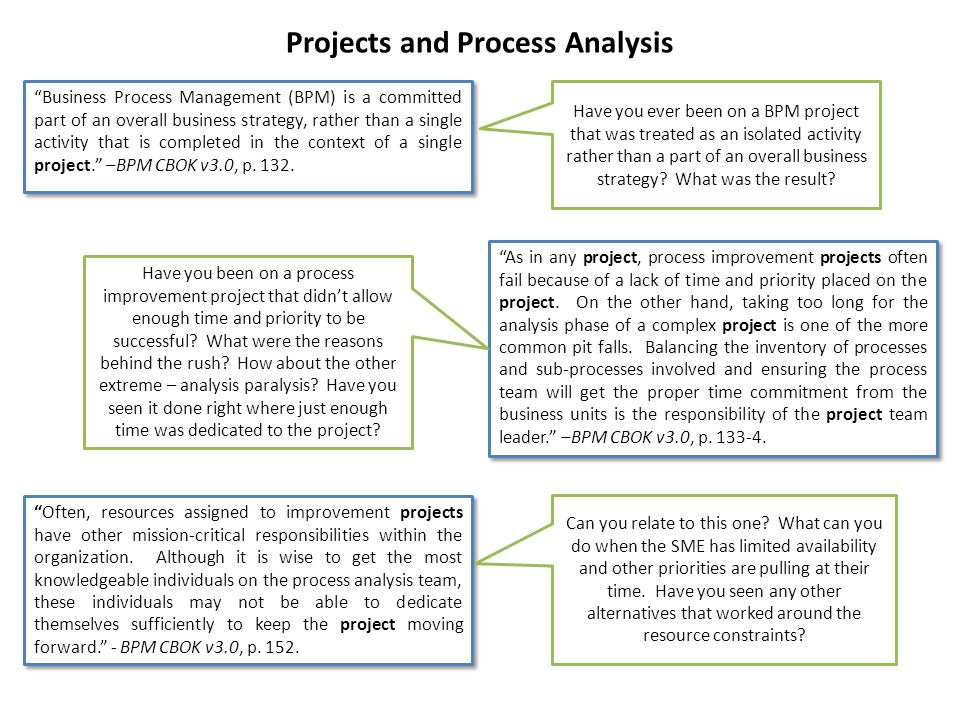 Projects and Process Analysis