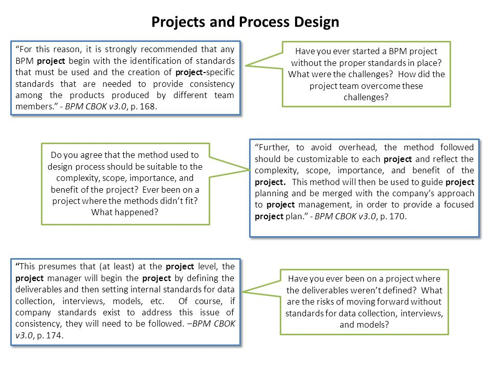 Projects and Process Design