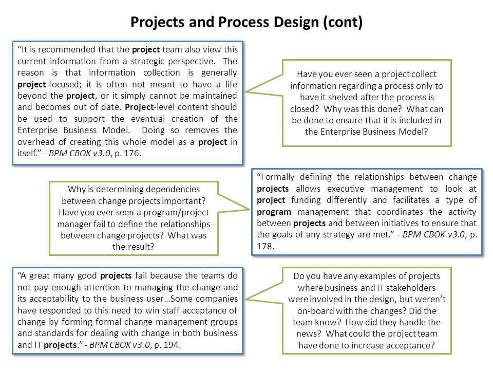 Projects and Process Design (cont)