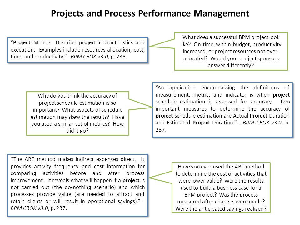 Projects and Process Performance Management