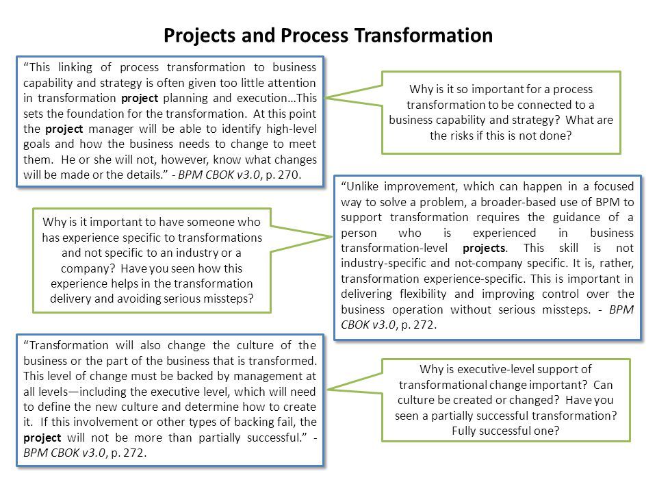 Projects and Process Transformation