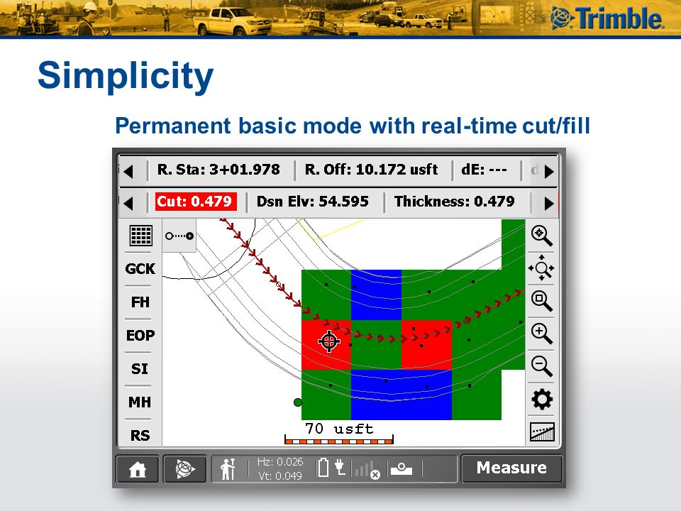 Simplicity Permanent basic mode with real-time cut/fill