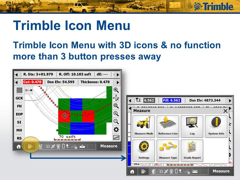 Trimble Icon Menu Trimble Icon Menu with 3D icons & no function more than 3 button presses away