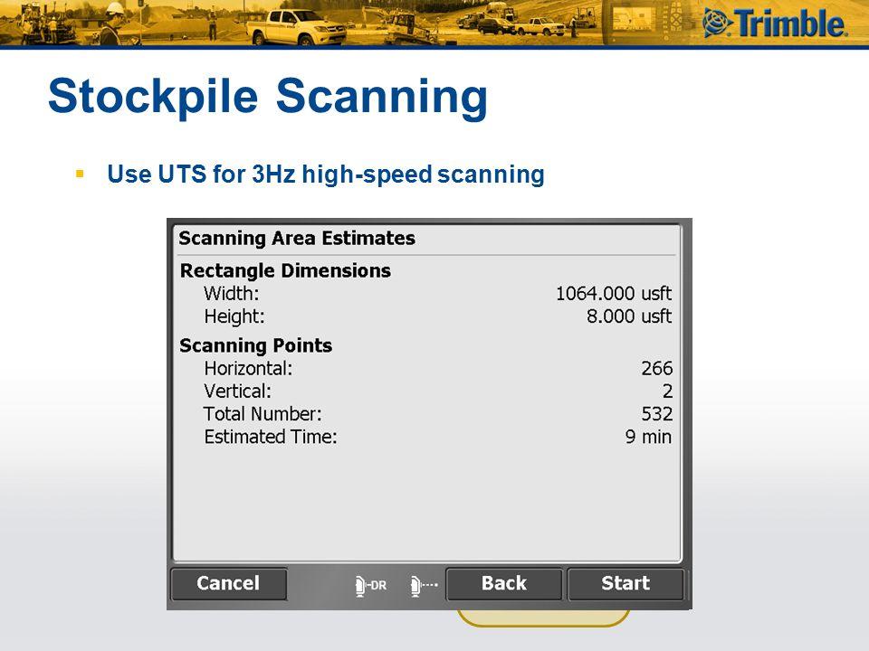 Stockpile Scanning Use UTS for 3Hz high-speed scanning
