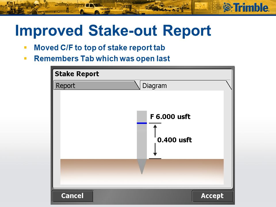 Improved Stake-out Report