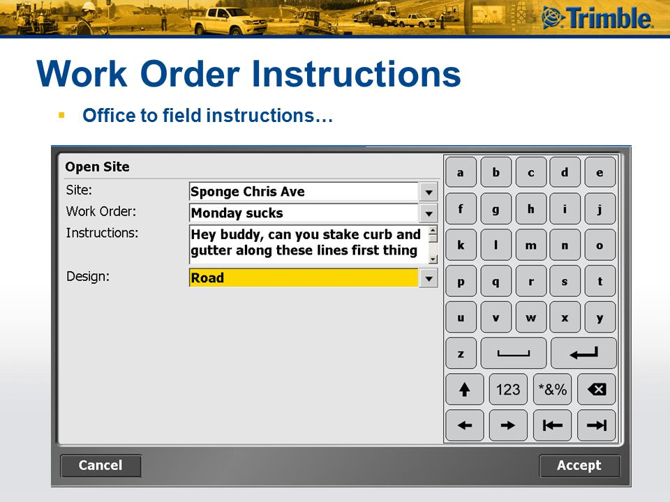 Work Order Instructions