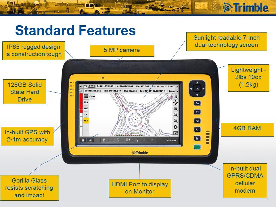 Standard Features Sunlight readable 7-inch dual technology screen