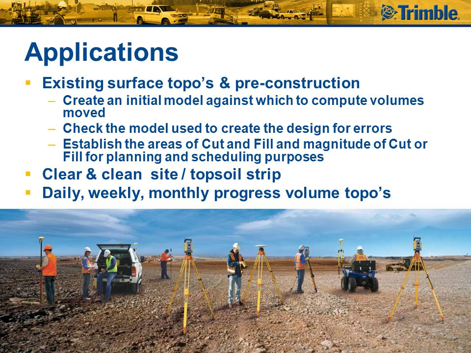 Applications Existing surface topo's & pre-construction