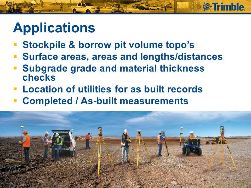 Applications Stockpile & borrow pit volume topo's
