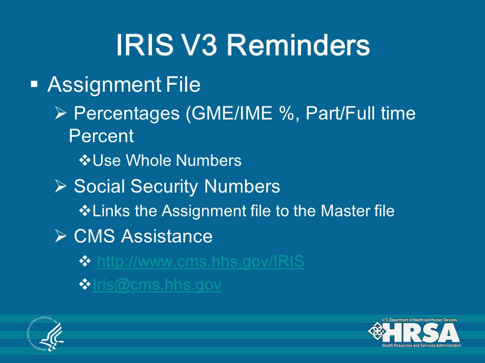 IRIS V3 Reminders Assignment File