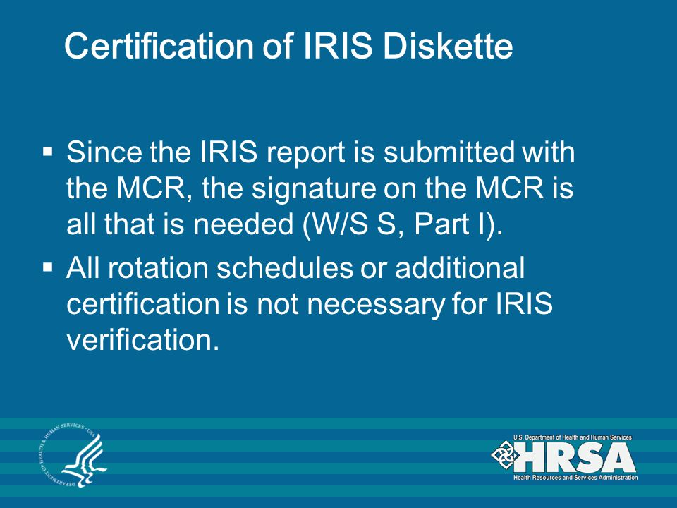 Certification of IRIS Diskette