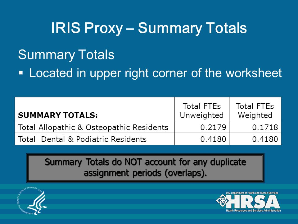 IRIS Proxy – Summary Totals