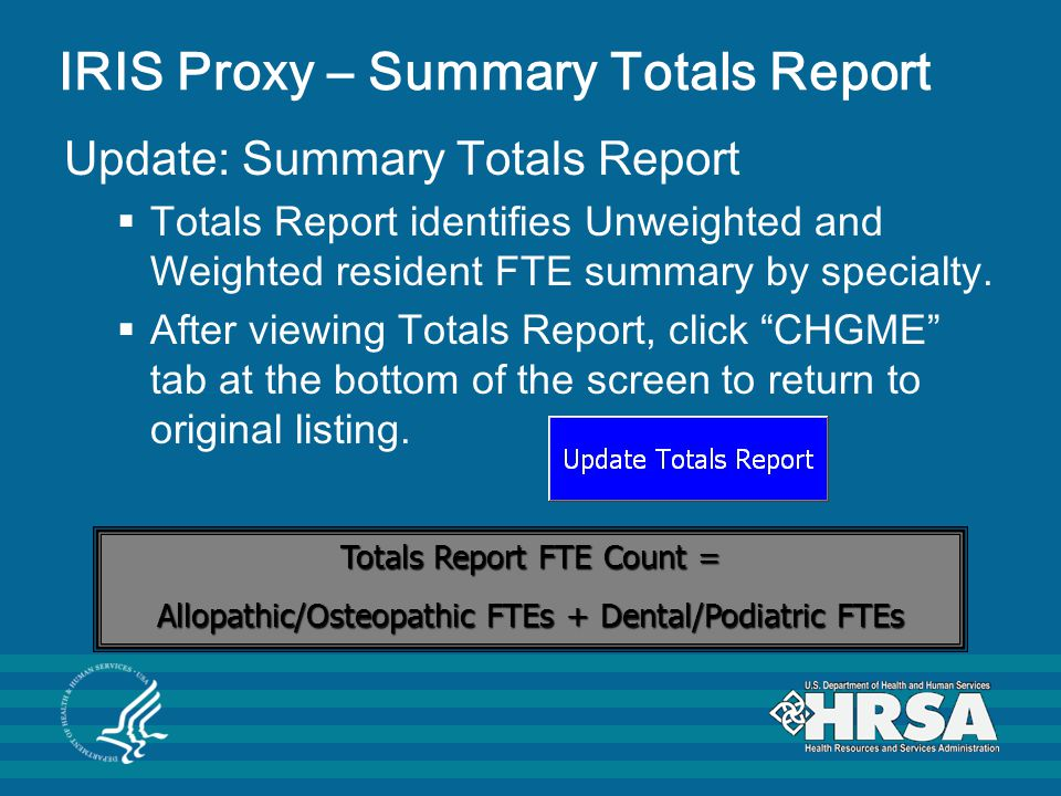 IRIS Proxy – Summary Totals Report