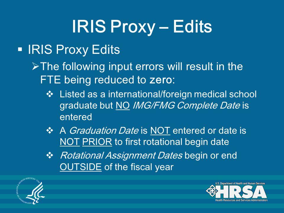 IRIS Proxy – Edits IRIS Proxy Edits