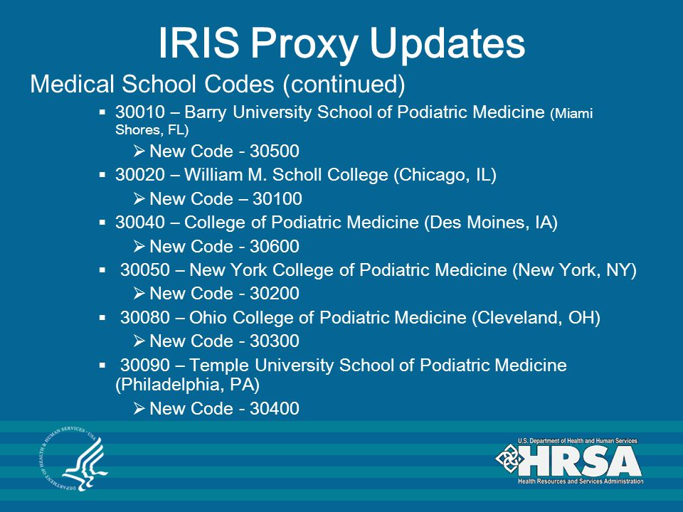 IRIS Proxy Updates Medical School Codes (continued)
