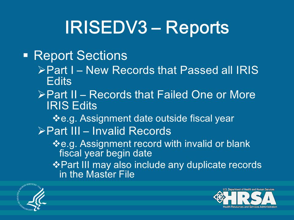 IRISEDV3 – Reports Report Sections