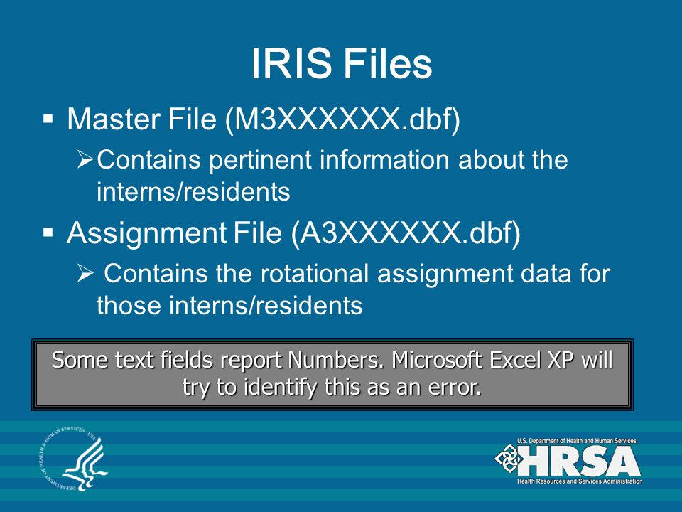 IRIS Files Master File (M3XXXXXX.dbf) Assignment File (A3XXXXXX.dbf)