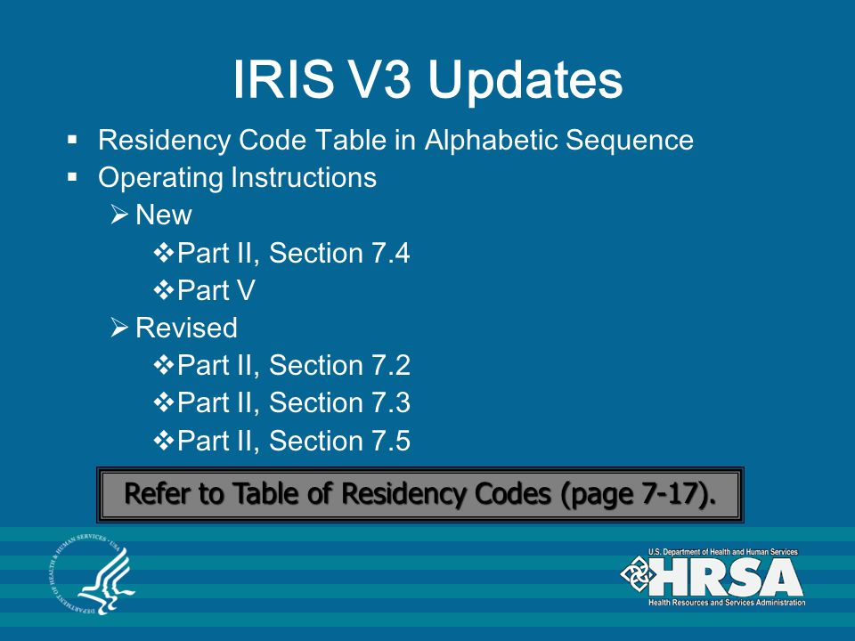 Refer to Table of Residency Codes (page 7-17).