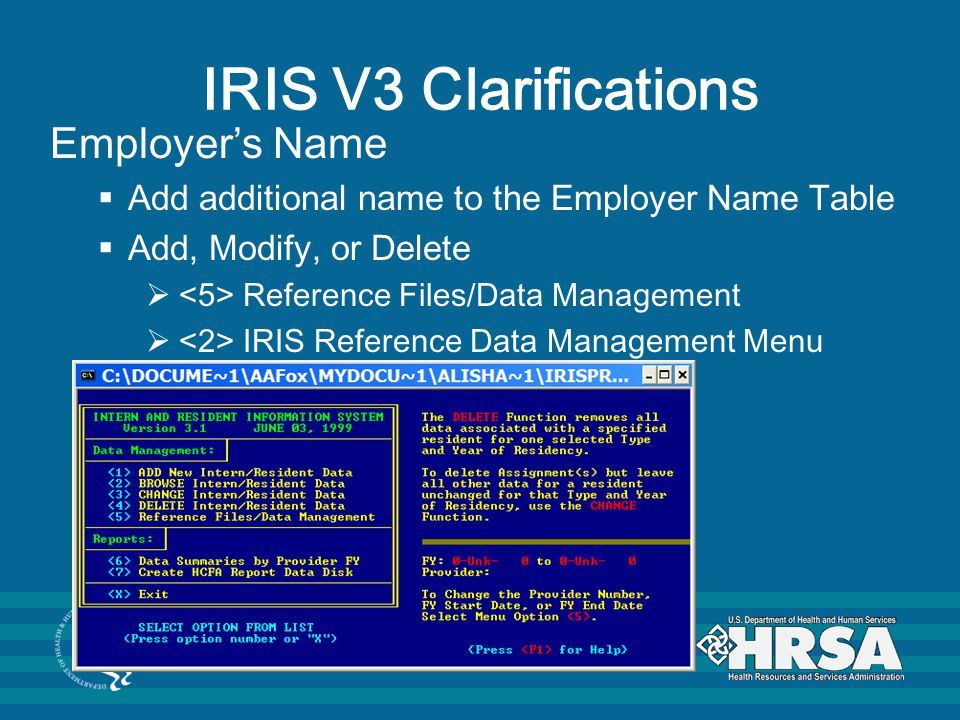 IRIS V3 Clarifications Employer's Name