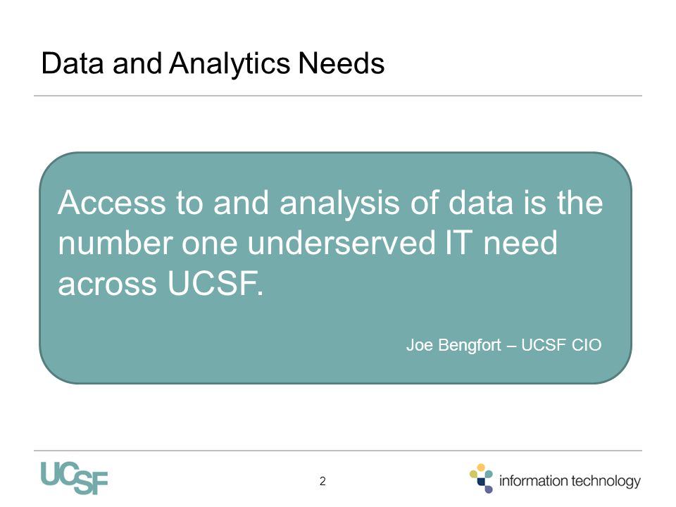 Data and Analytics Needs