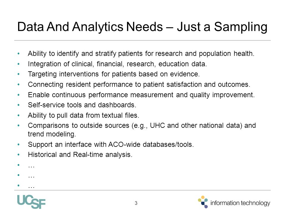 Data And Analytics Needs – Just a Sampling