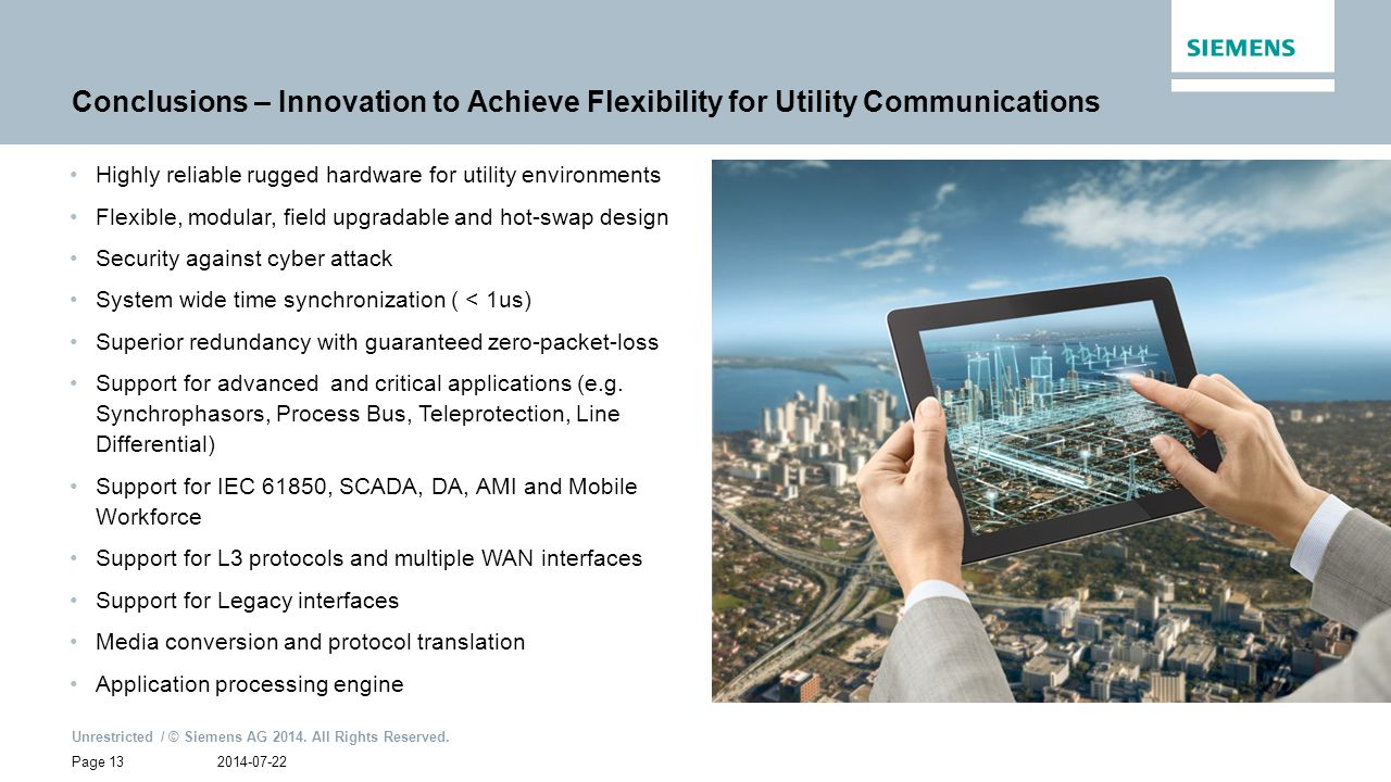 Conclusions – Innovation to Achieve Flexibility for Utility Communications