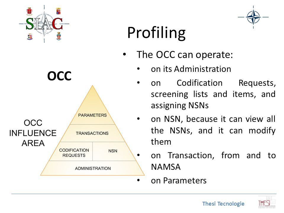 Profiling OCC The OCC can operate: on its Administration