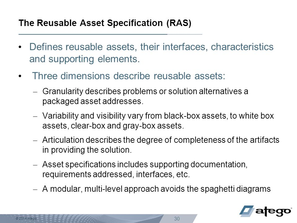 The Reusable Asset Specification (RAS)
