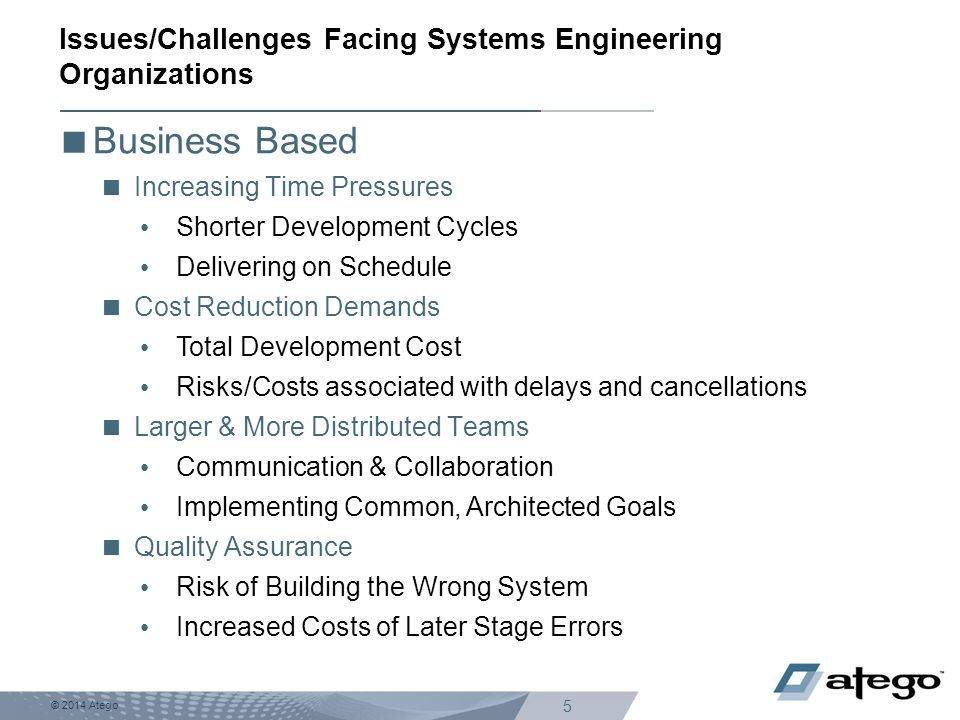 Issues/Challenges Facing Systems Engineering Organizations