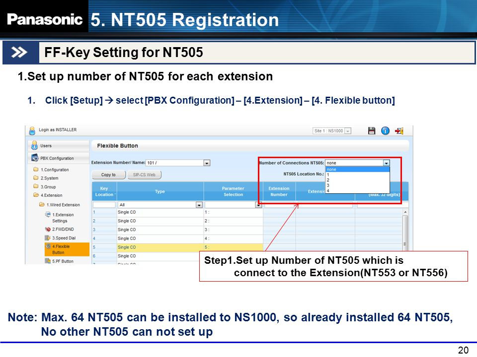 5. NT505 Registration FF-Key Setting for NT505