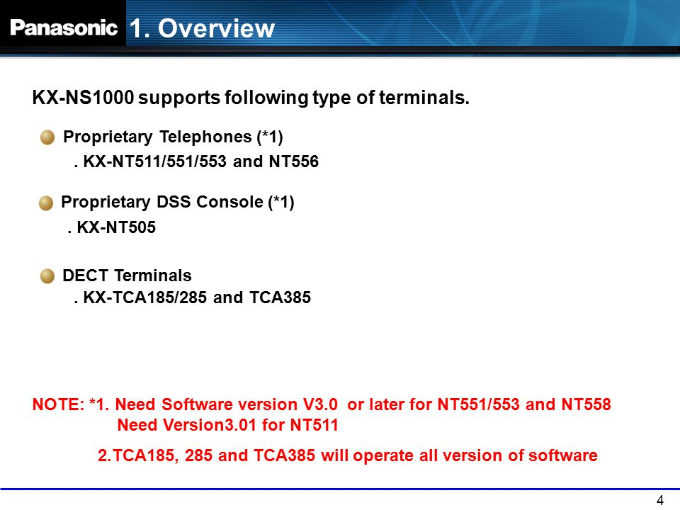 1. Overview KX-NS1000 supports following type of terminals.