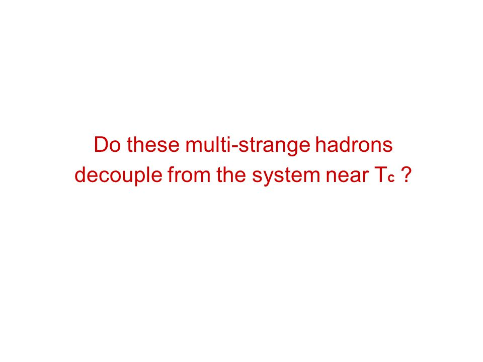 Do these multi-strange hadrons decouple from the system near Tc
