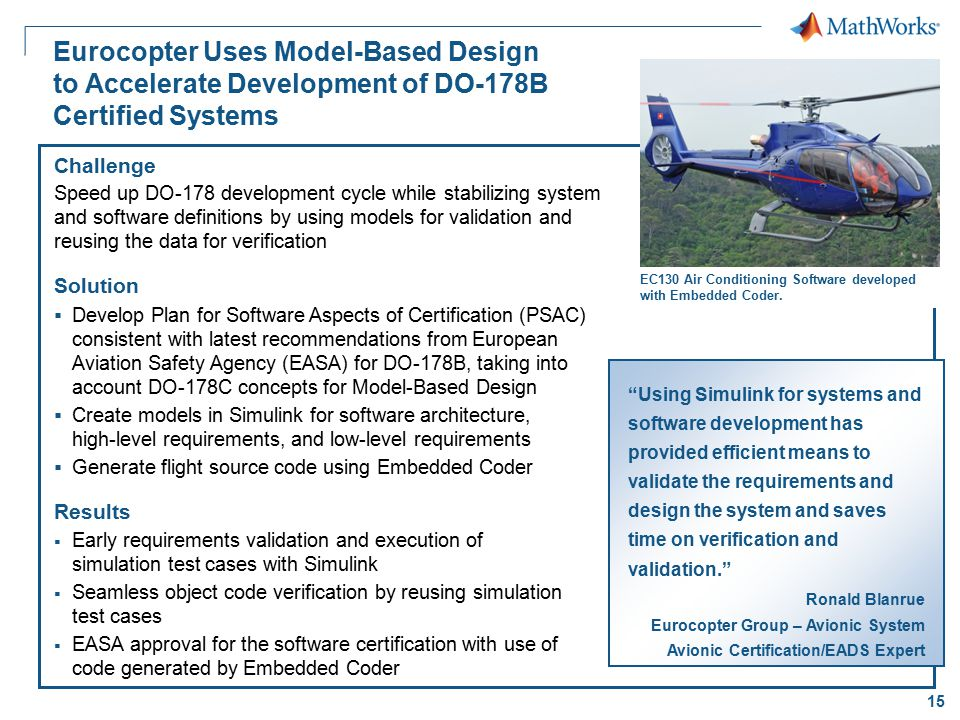 Eurocopter Uses Model-Based Design to Accelerate Development of DO-178B Certified Systems
