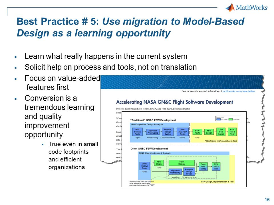 Best Practice # 5: Use migration to Model-Based Design as a learning opportunity