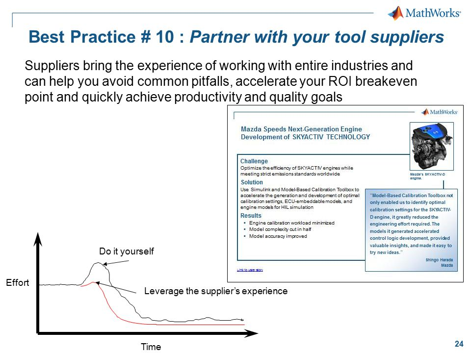 Best Practice # 10 : Partner with your tool suppliers