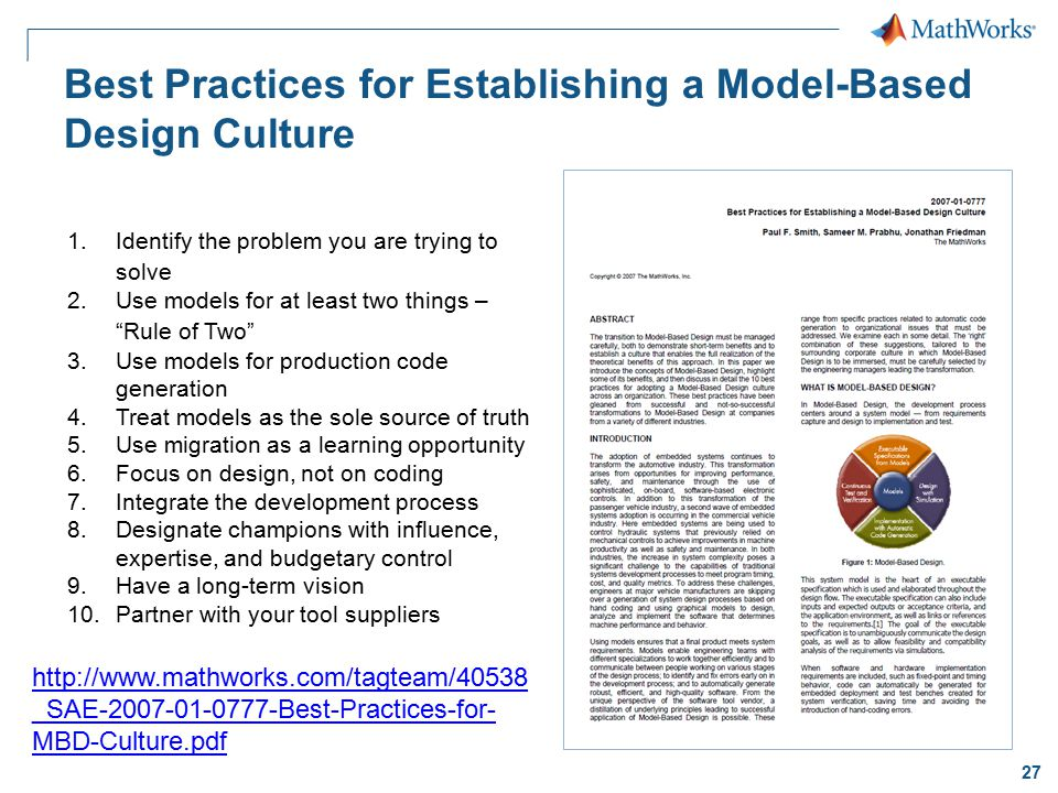 Best Practices for Establishing a Model-Based Design Culture