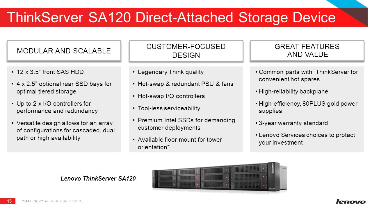 ThinkServer SA120 Direct-Attached Storage Device