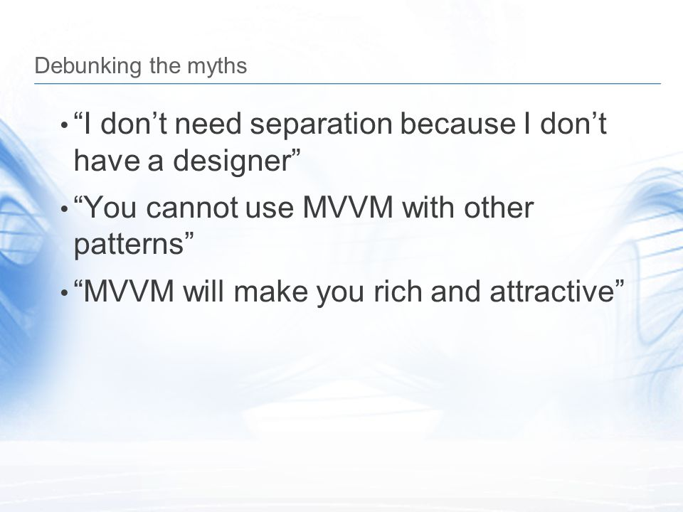 I don't need separation because I don't have a designer