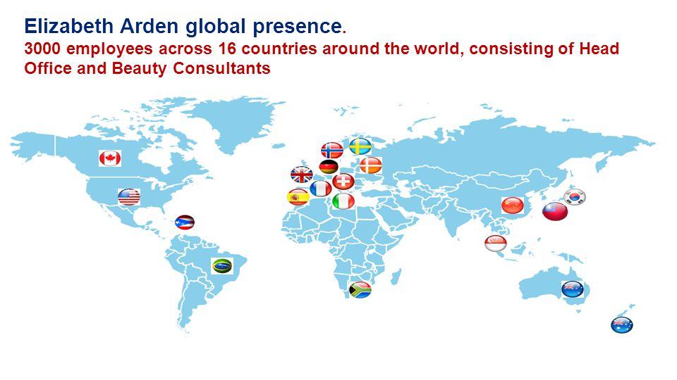 Elizabeth Arden global presence.