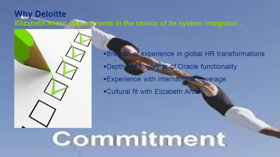 Why Deloitte Elizabeth Arden requirements in the choice of its system integrator…
